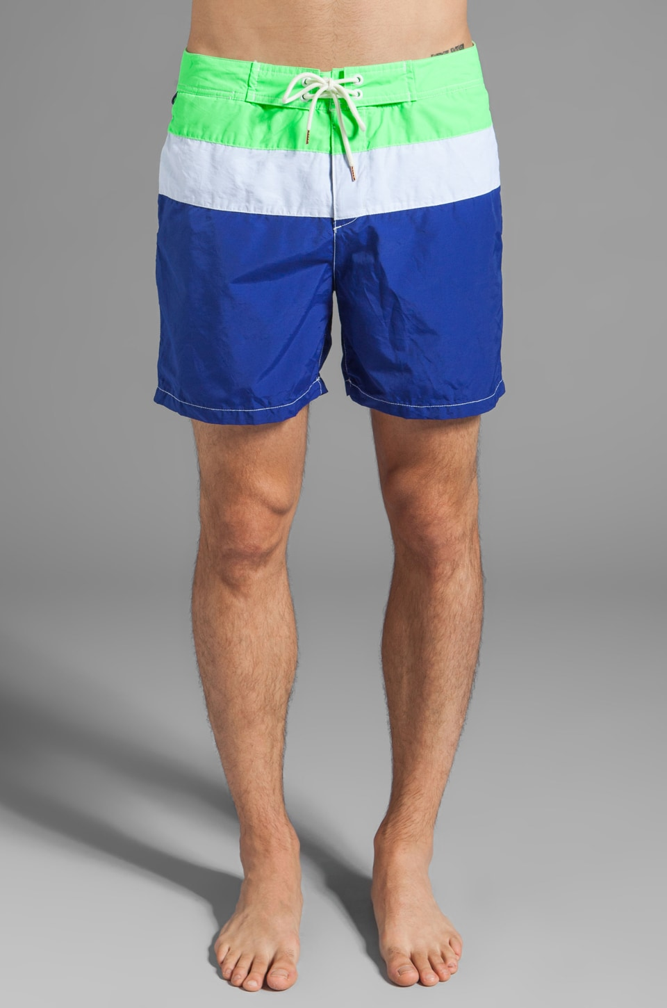 Scotch & Soda Colorblock Swim Short in Green/White/Blue
