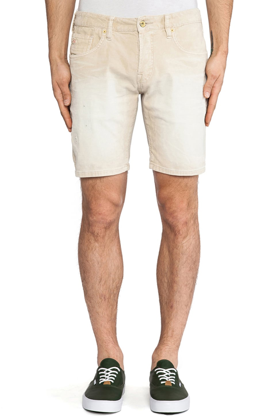 Scotch & Soda 5-Pocket Sprayed & Denim Repair Short in Sand