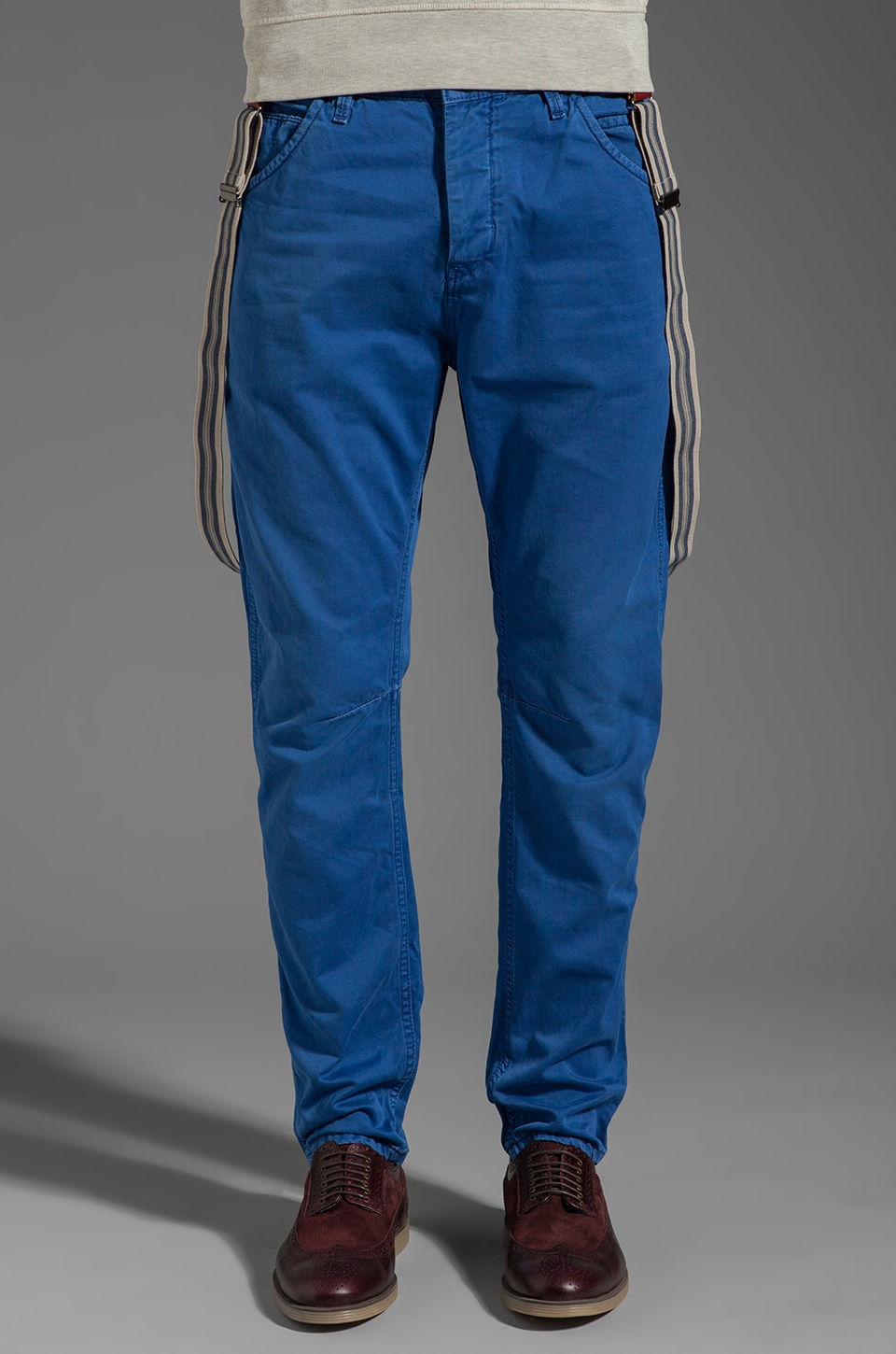Scotch & Soda Brewer Antifit Twill Pant w/Suspenders in Memory Blue
