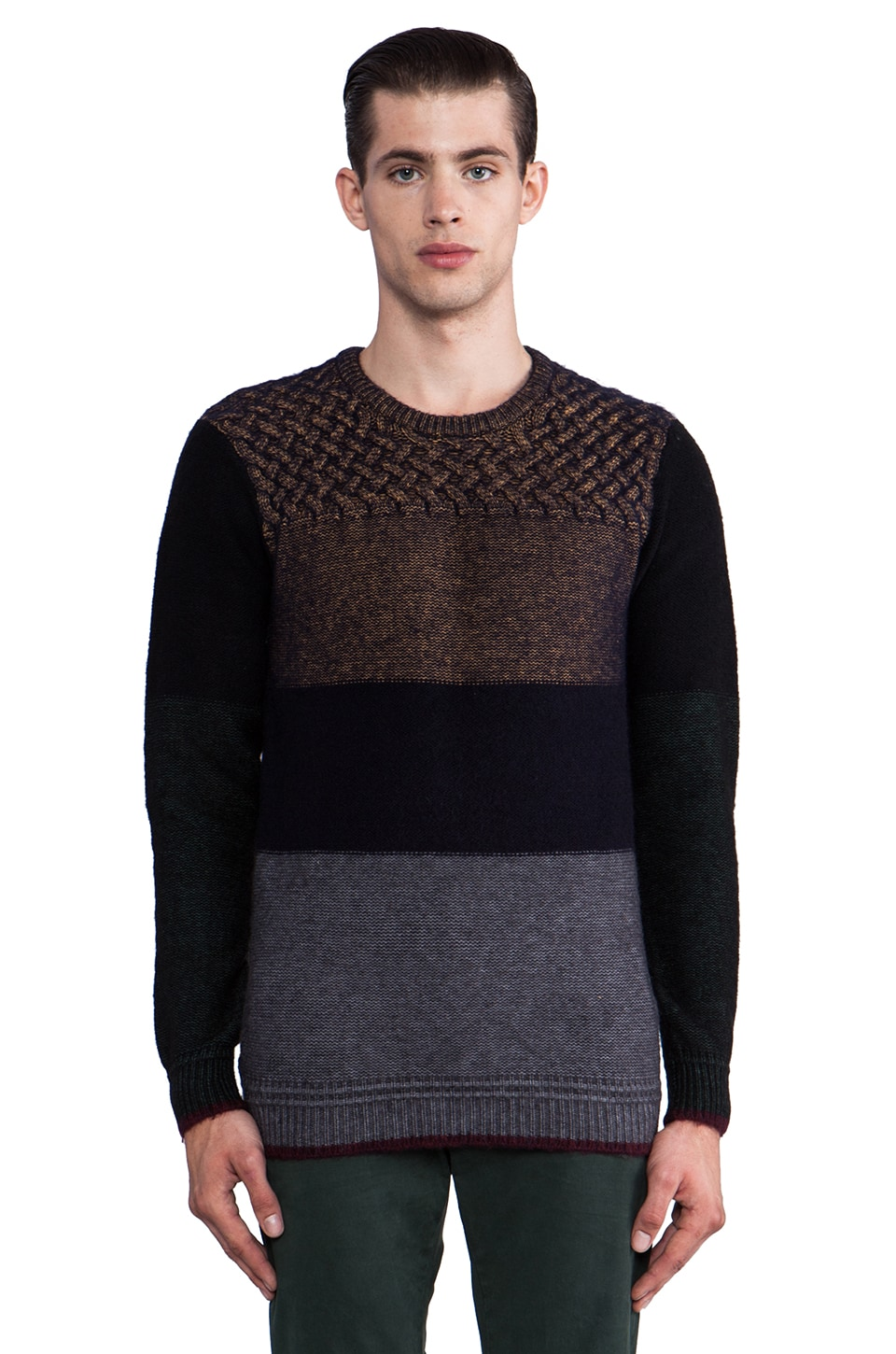 Scotch & Soda Colorblock Sweater in Grey/Multi