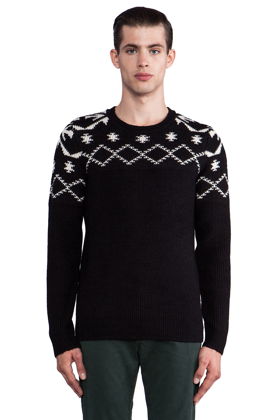 Scotch & Soda Intarsia Sweater in Black