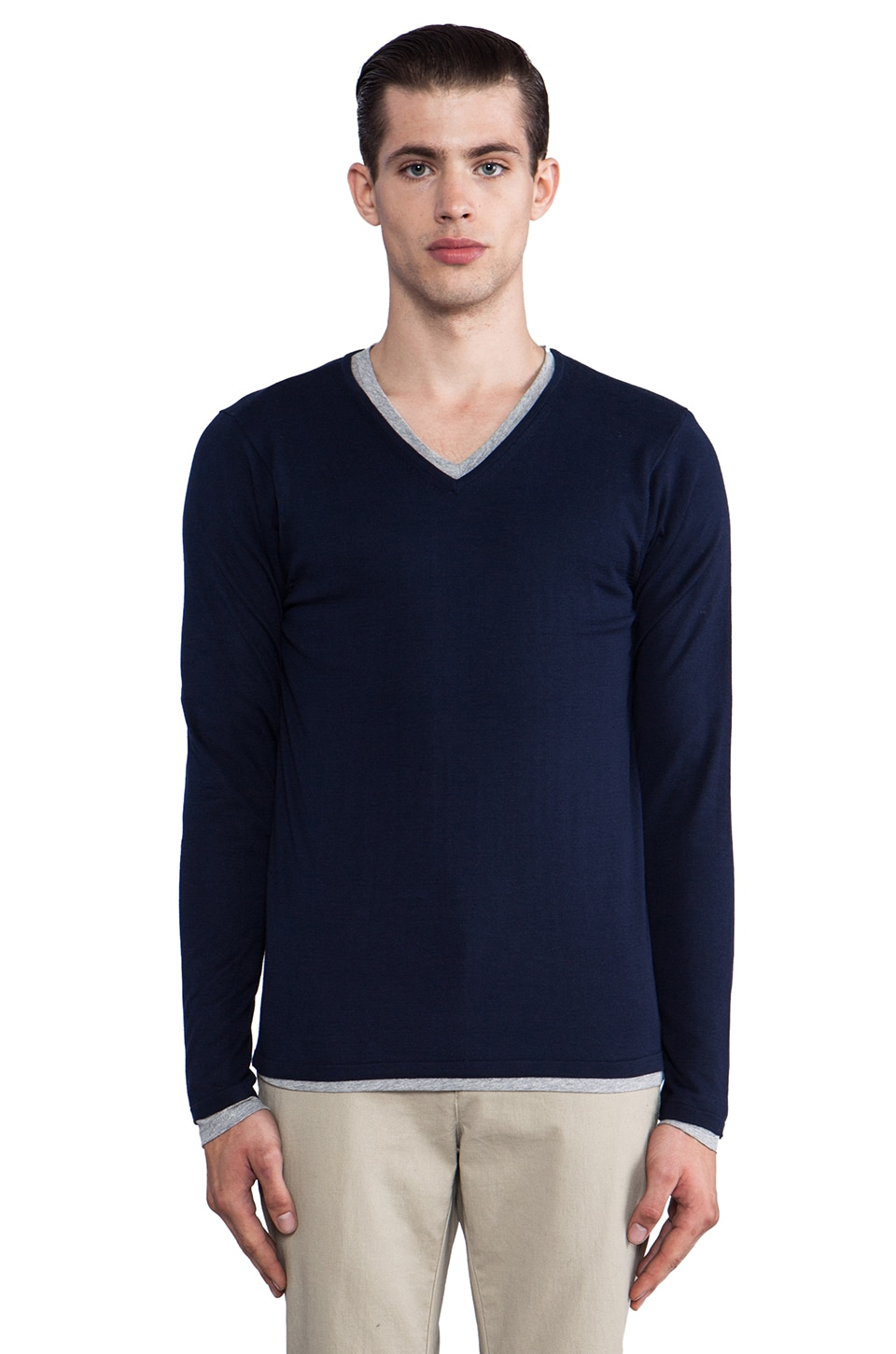 Scotch & Soda V Neck Sweater w/ Inner Tee in Ink