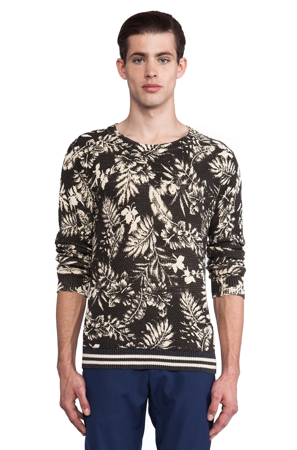 Scotch & Soda Allover Printed Cable Crewneck in Black & Ecru