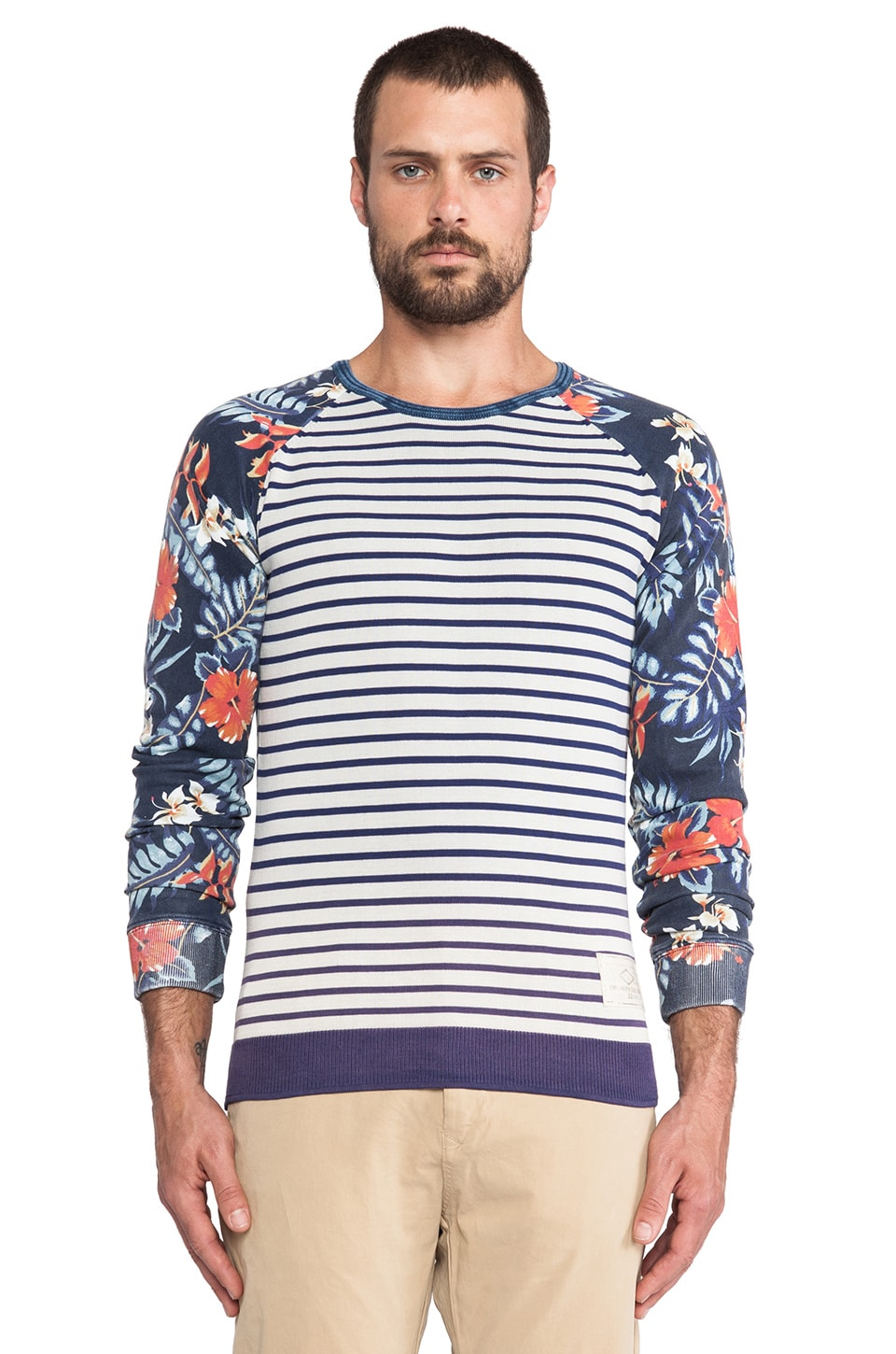 Scotch & Soda Crewneck Pullover w/ Felpa Sleeve in Navy/Multi