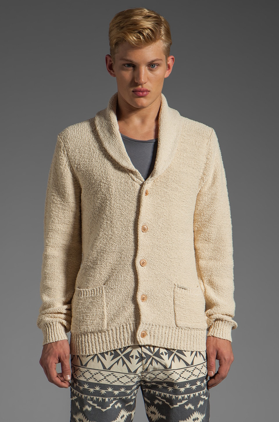 Scotch & Soda Shawl Cardigan in Ecru