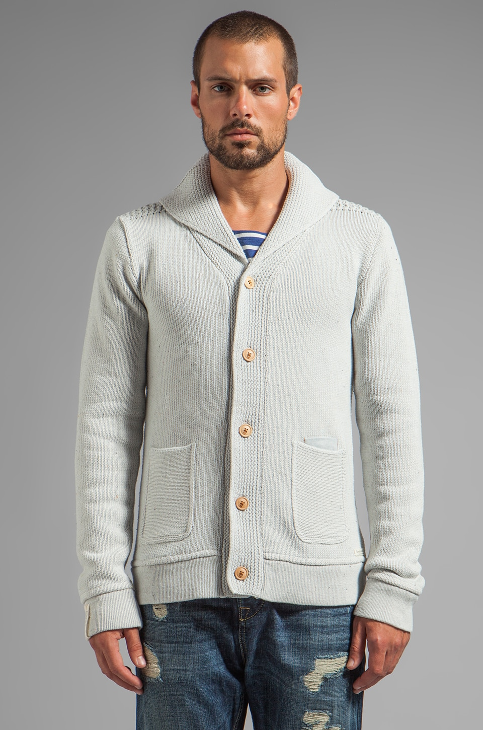 Scotch & Soda Recycled Denim Cardigan in Blue Wash