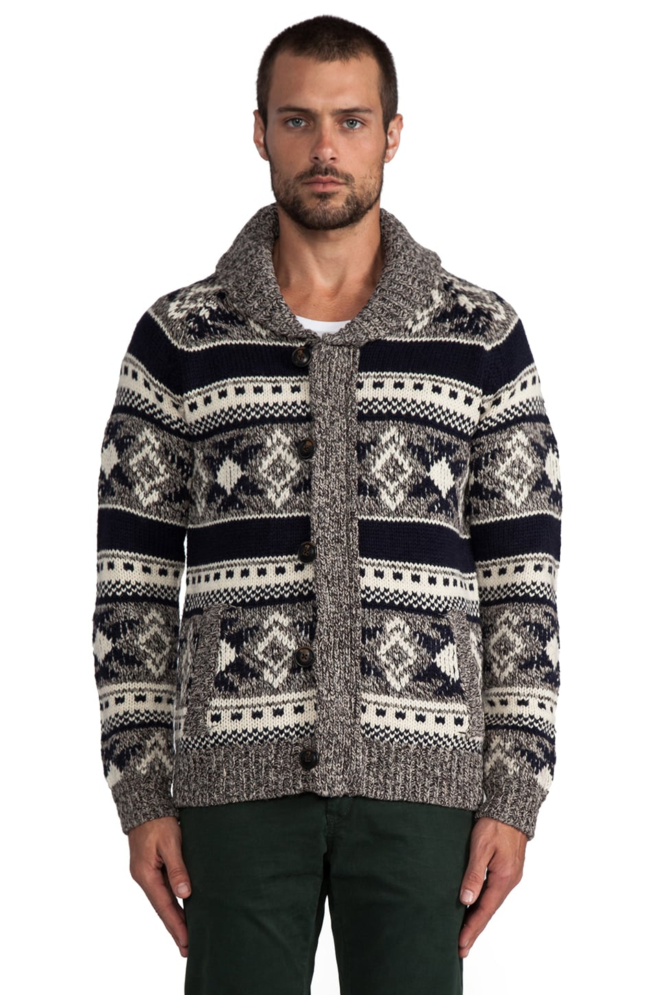 Scotch & Soda Chunky Intarsia Cardigan in Grey
