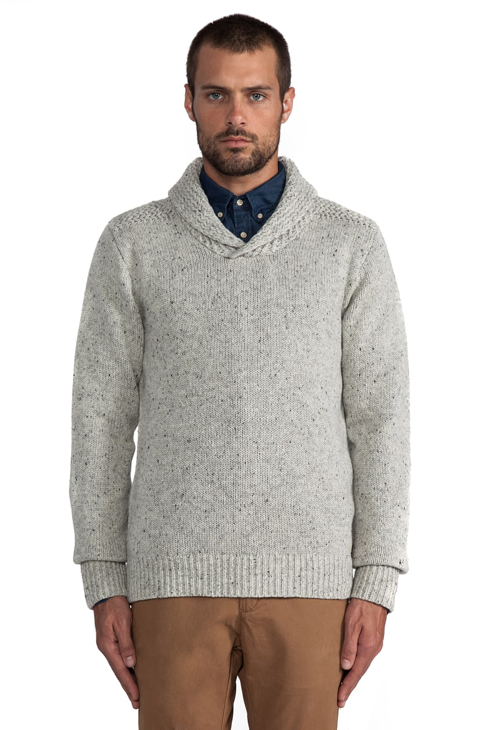 Scotch & Soda Intarsia Pullover w/ Shawl Collar in Grey Melange