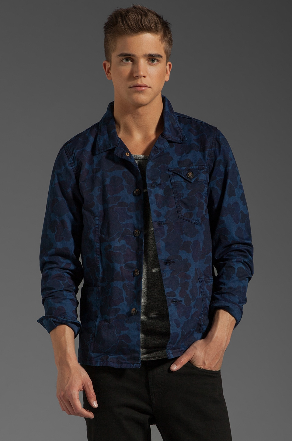 Scotch & Soda Laser Print Camo Railroad Jacket in Indigo Camo