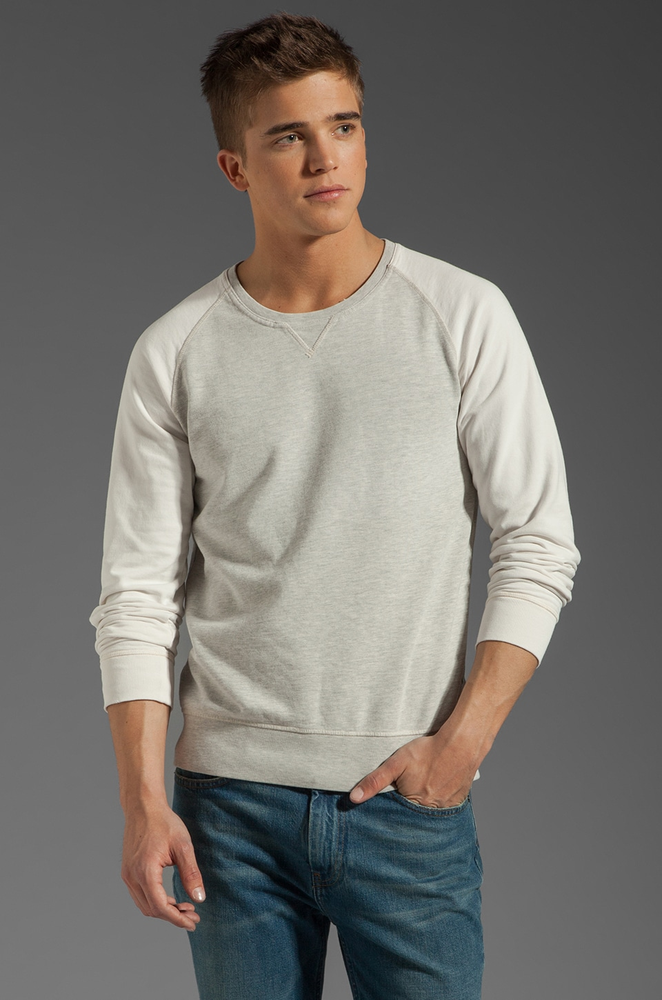 Scotch & Soda Contrast Raglan Sweater in Grey / White