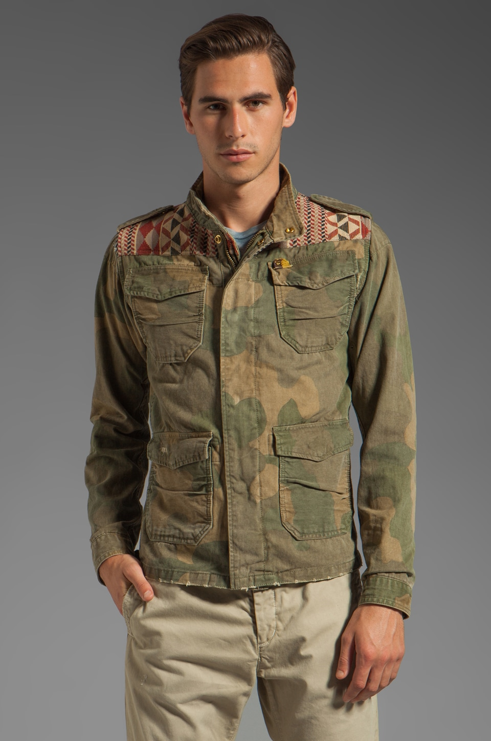 Scotch & Soda Army Jacket in Green/Red