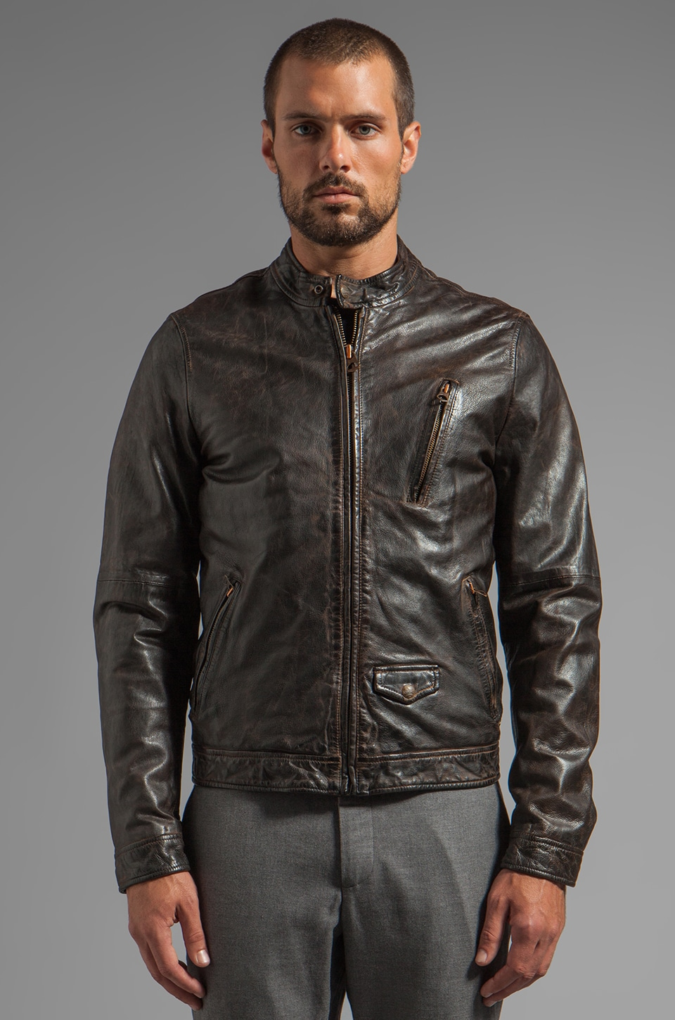 Scotch & Soda Leather Biker Jacket in Black