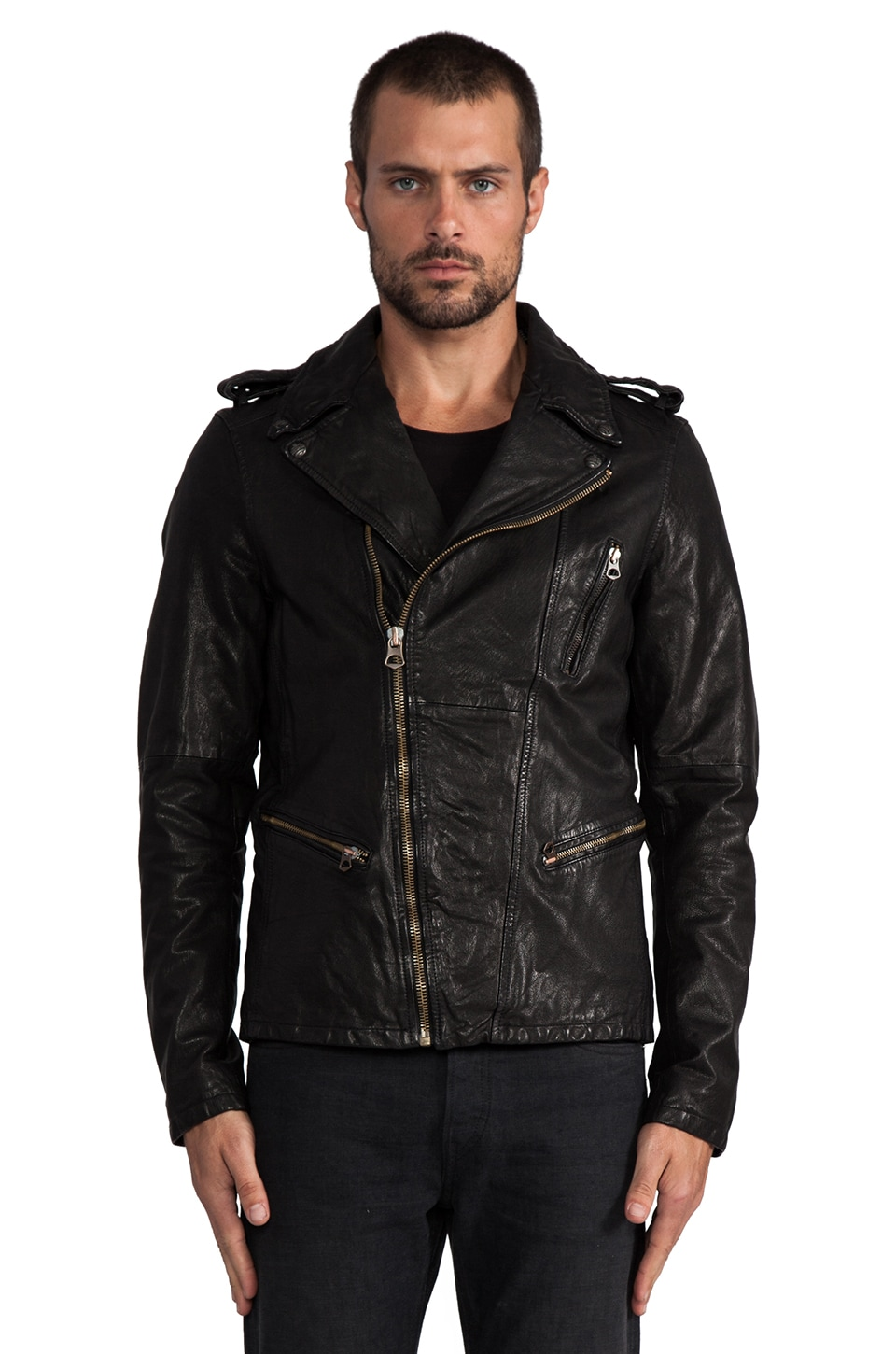 Scotch & Soda Leather Rocker Jacket in Black