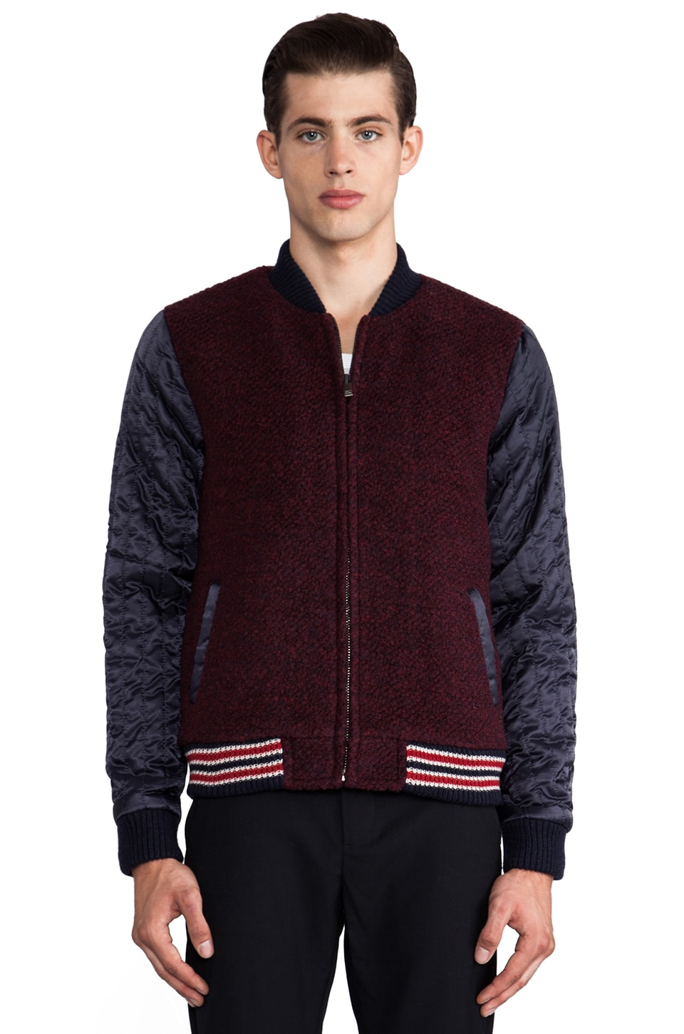 Scotch & Soda Boucle Bomber in Ruby/Navy