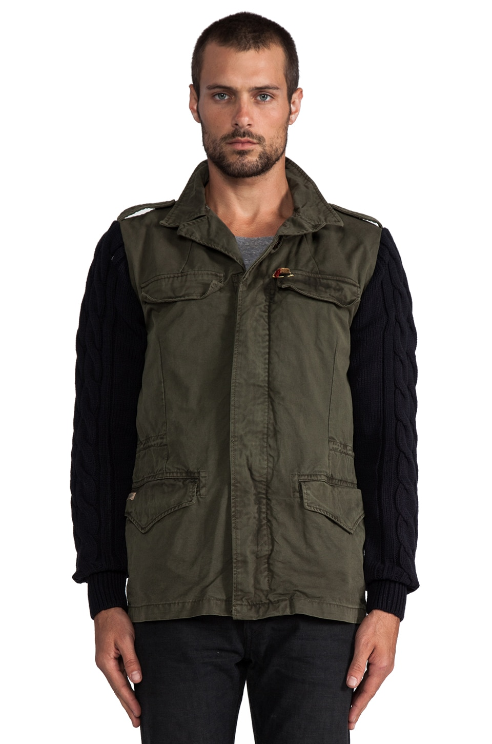 Scotch & Soda Military Jacket w/ Knit Sleeves in Olive