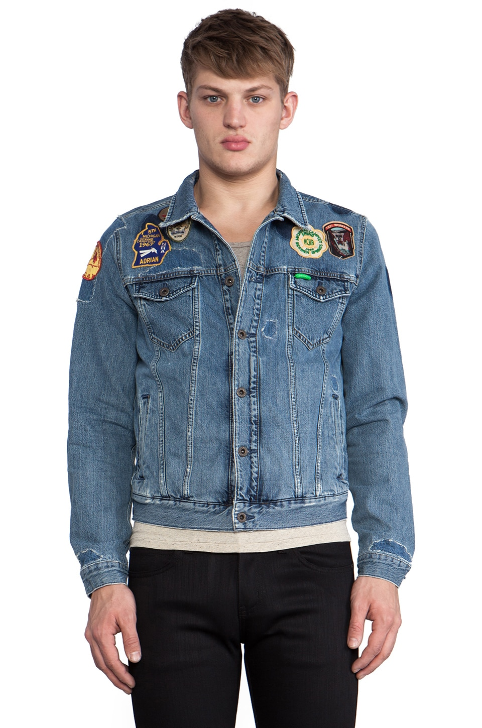 Scotch & Soda Denim Jacket w/ Patches in Vintage Trucker Dust Bowl