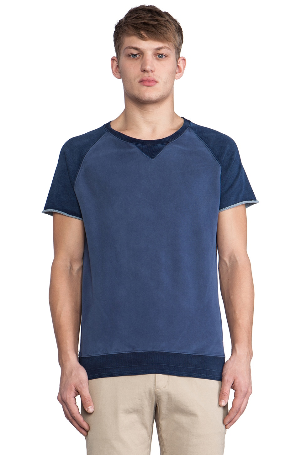 Scotch & Soda Short Sleeve Raglan Sweatshirt in Navy