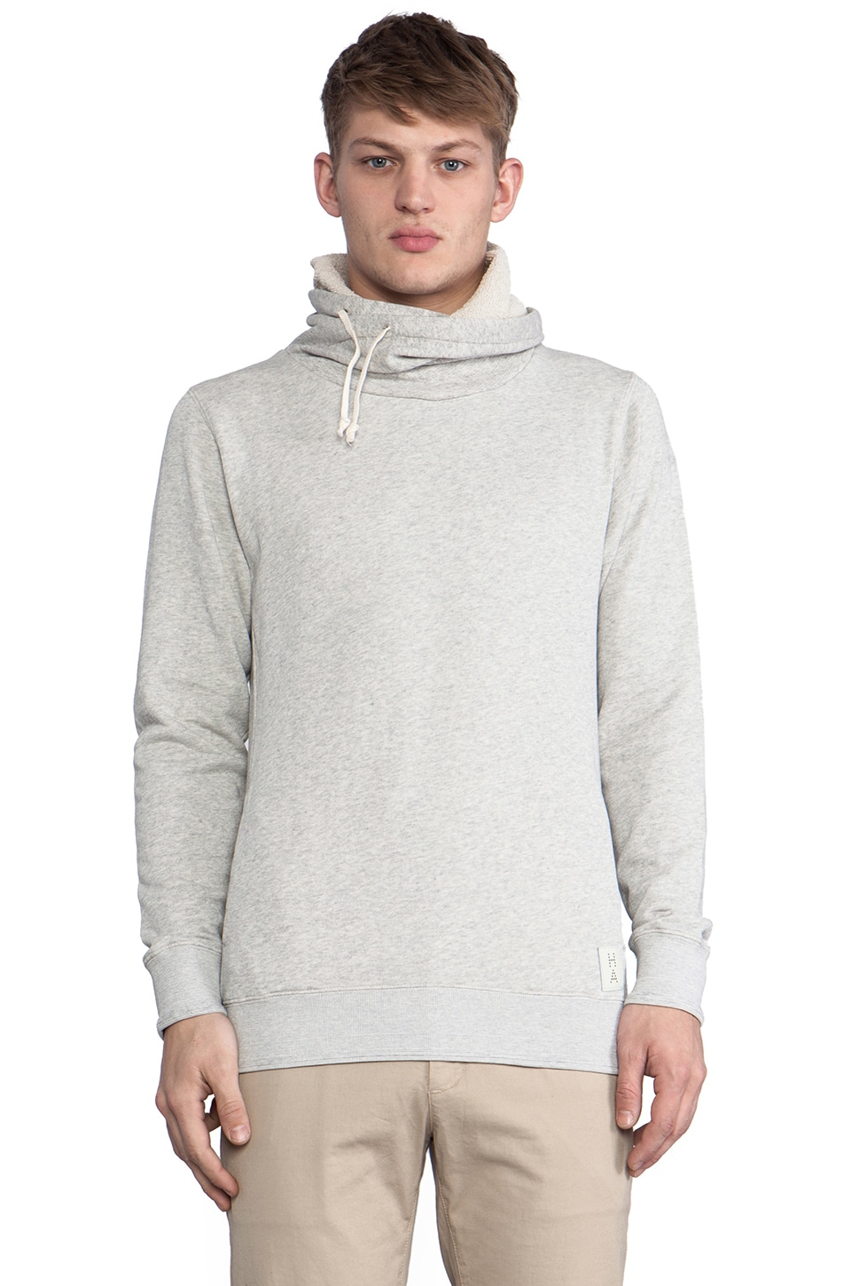 Scotch & Soda Home Alone Twisted Neck Hoody in Grey