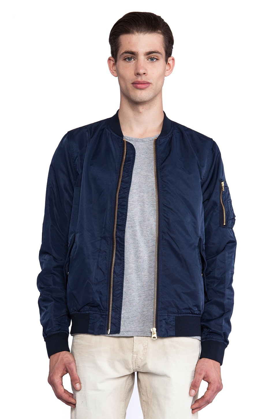 Scotch & Soda Alpha Nylon Bomber Jacket in Navy