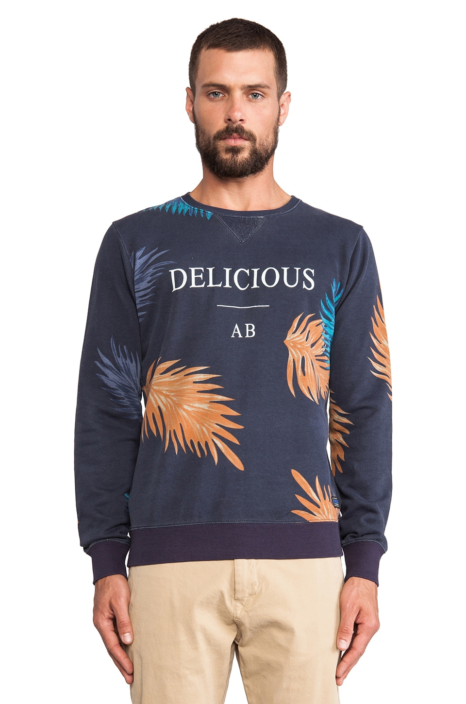 Scotch & Soda Allover Print Dandy Crew Neck Sweat in Navy