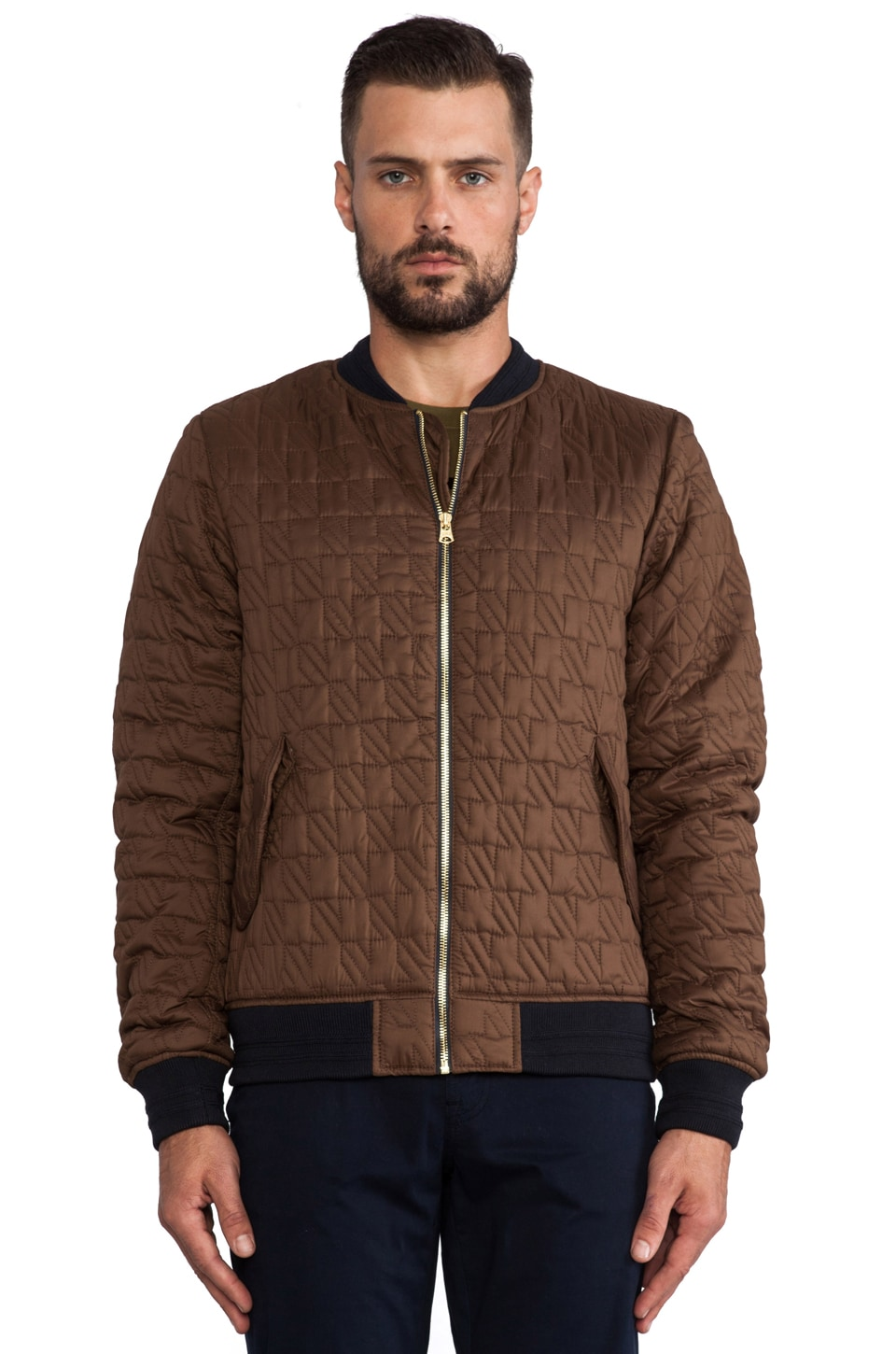 Scotch & Soda Quilted Bomber Jacket in Brown | REVOLVE