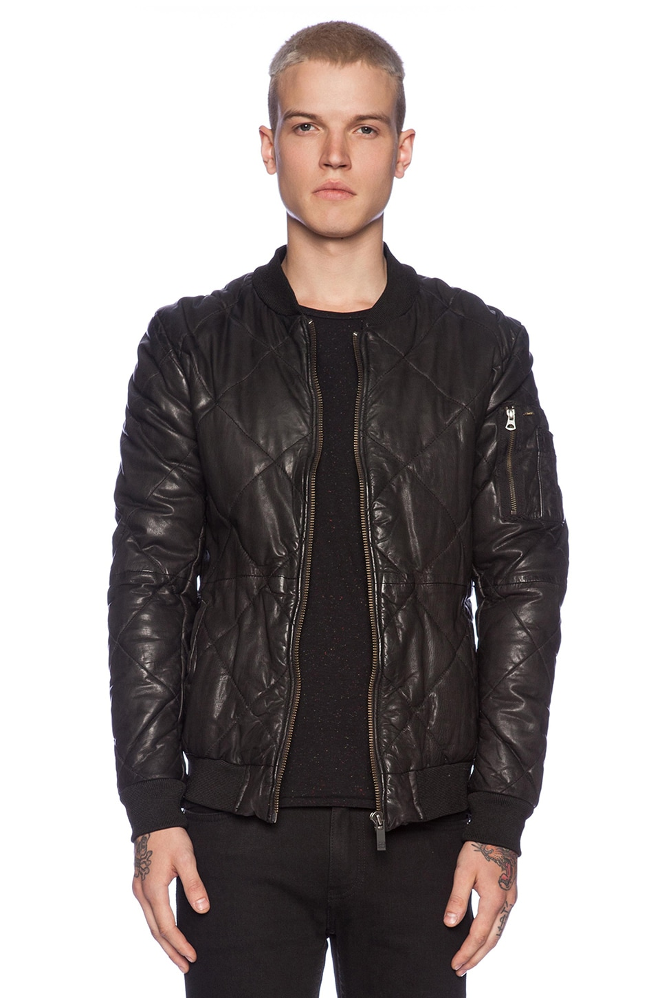 5732206ba Scotch & Soda Quilted Leather Bomber Jacket in Black | REVOLVE