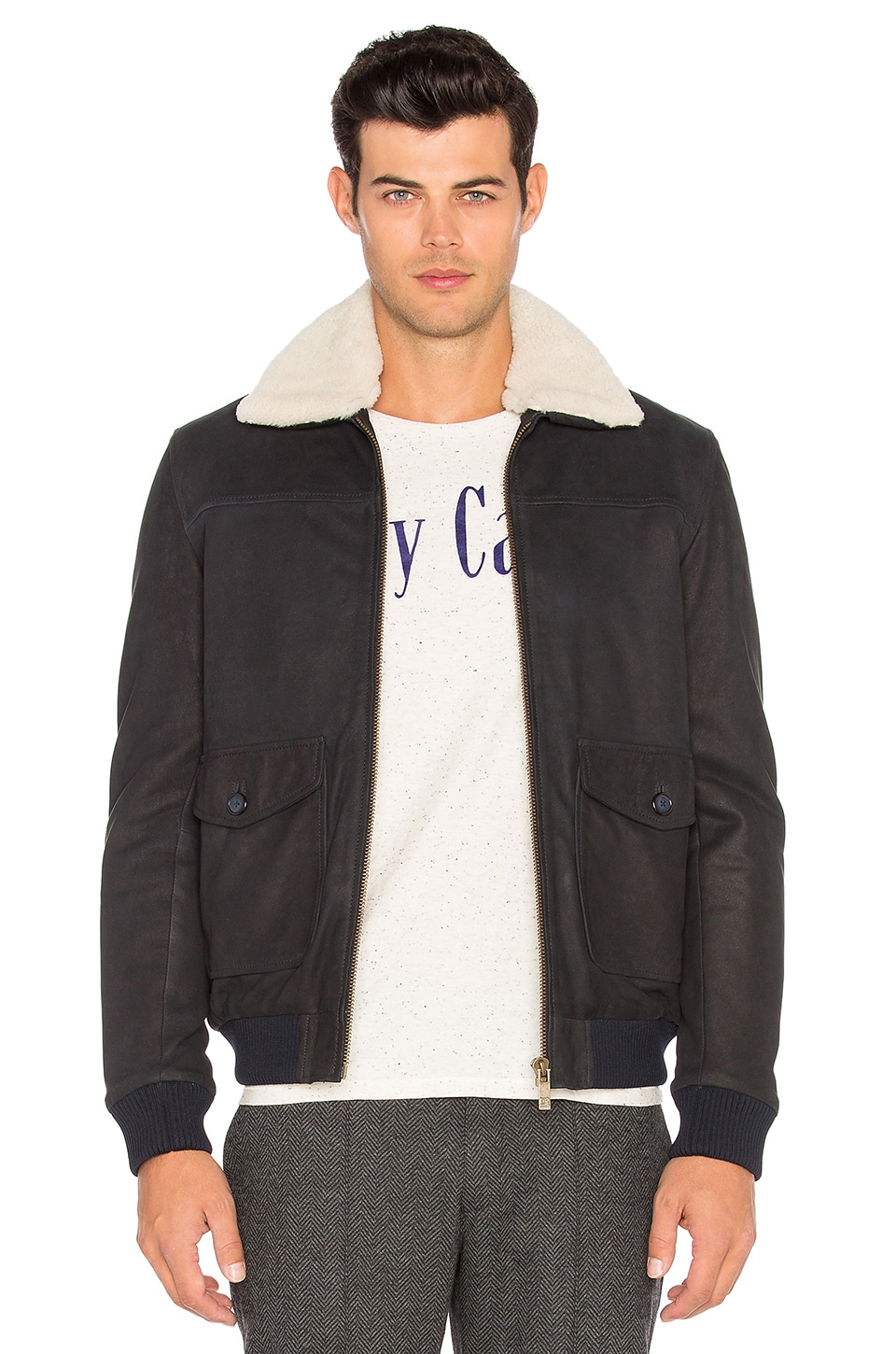 Scotch & Soda Leather Bomber Jacket with Faux Sherpa Lining in Night