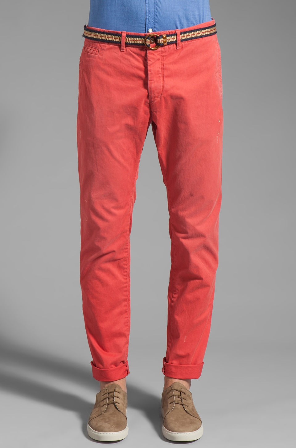 Scotch & Soda Belted Chino Pant in Holly Berry