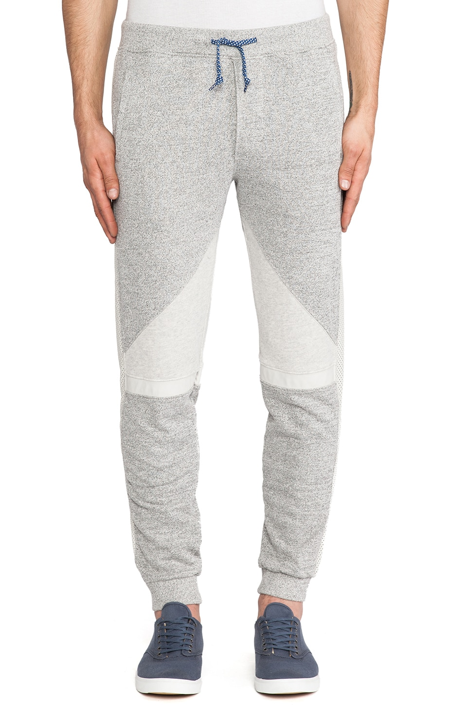 Scotch & Soda Batik Surf Sweatpant w/ Leather Details in Grey