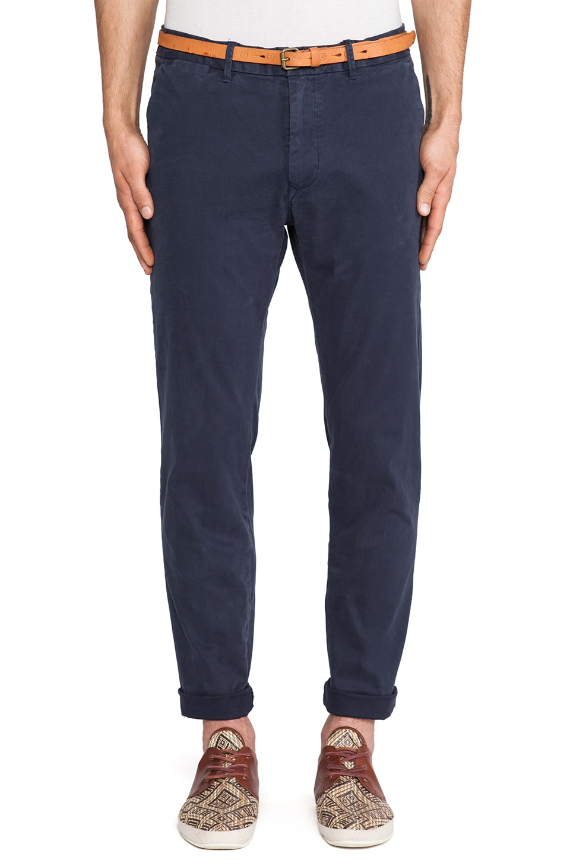 Scotch & Soda Basic Belted Slim Fit Chino in Navy