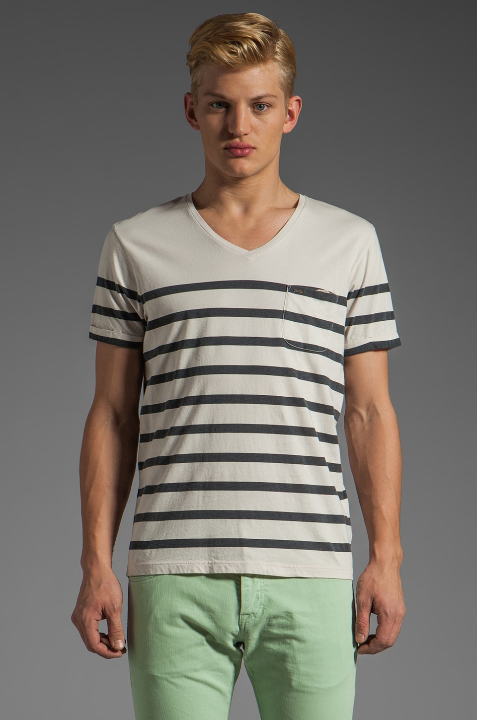 Scotch & Soda Stripe V Top in White