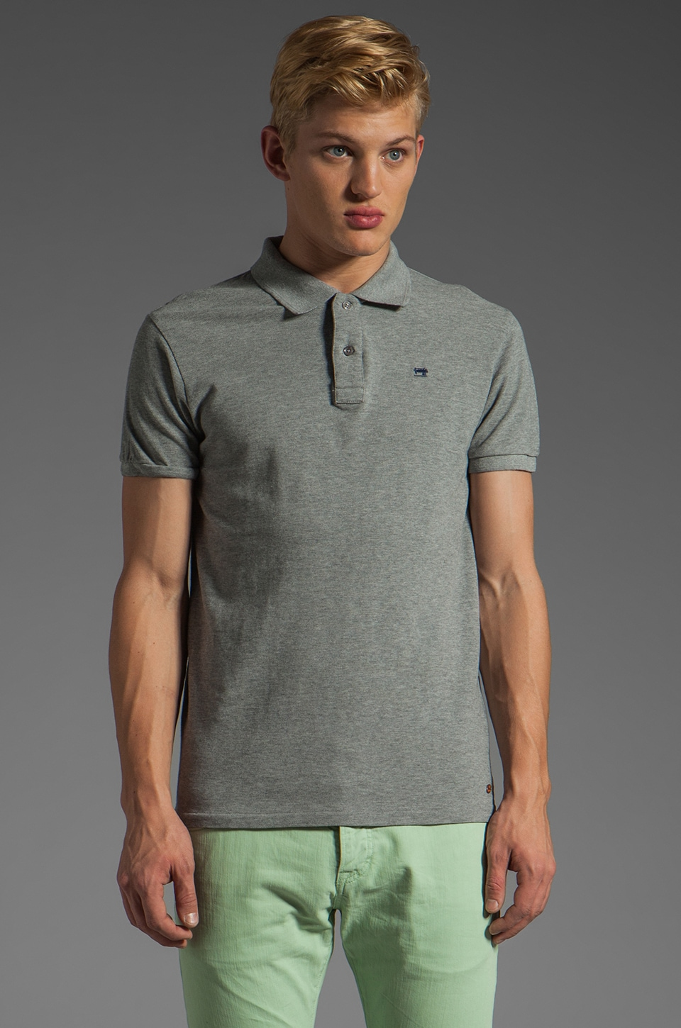Scotch & Soda Pique Polo in Grey