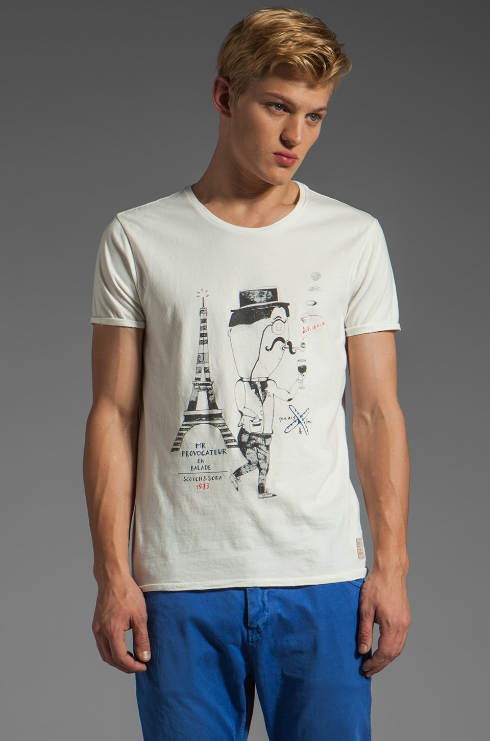 Scotch & Soda Mr. Provocateur Tee in White