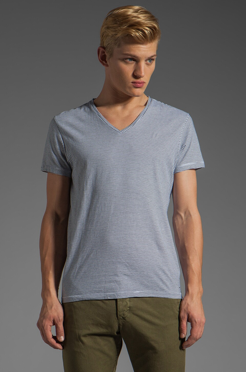Scotch & Soda 2n1 V Neck Top in Navy