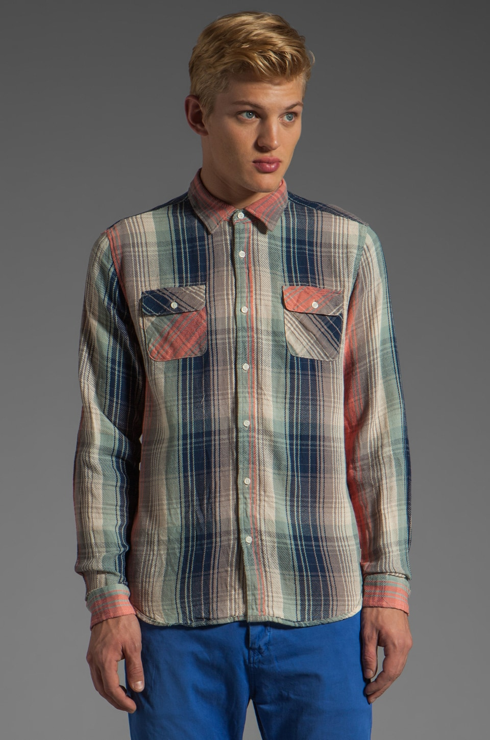 Scotch & Soda Summer Flannel in Blue/Coral/White