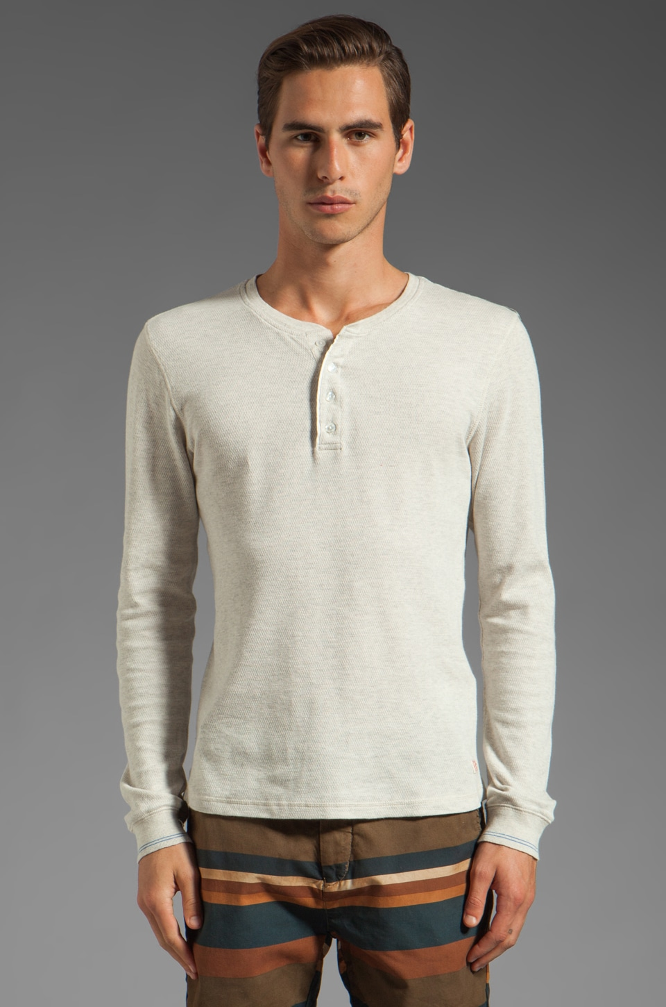 Scotch & Soda Long Sleeve Henley in Ecru