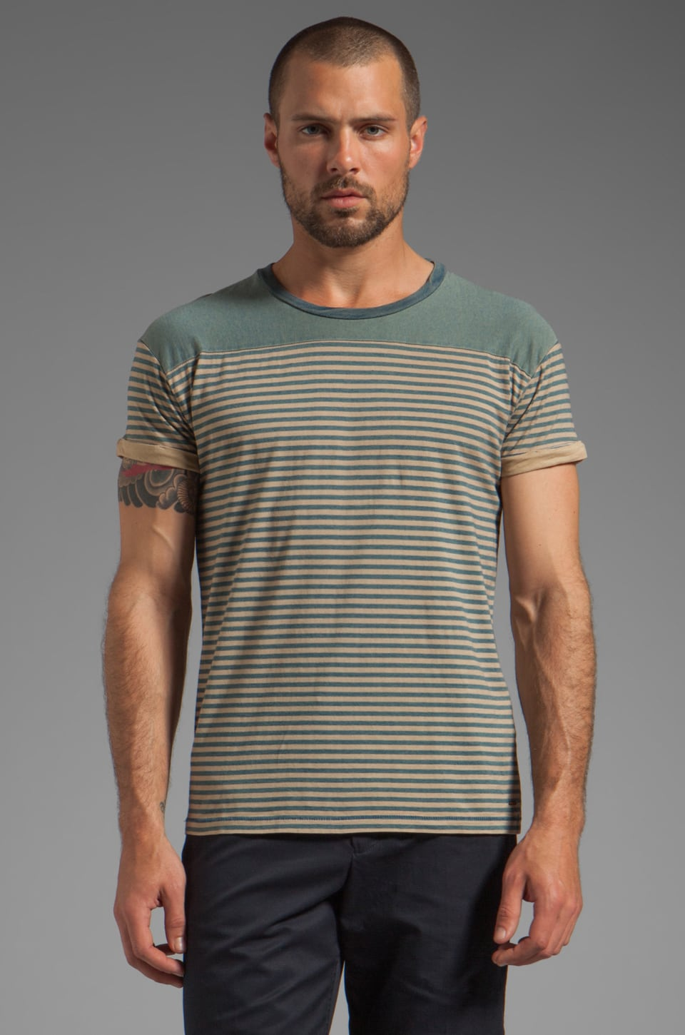 Scotch & Soda Stripe Tee in Blue/Brown