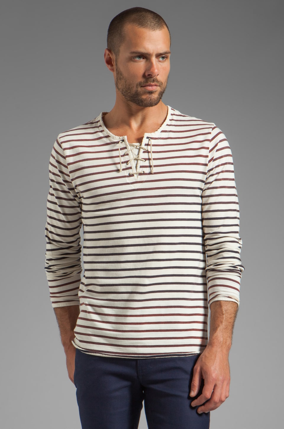 Scotch & Soda Sailor L/S Top w/ Lace Tie Up in White/Navy