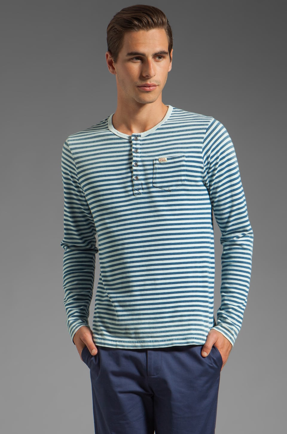 Scotch & Soda Stripe Long Sleeve Henley in Blue/White