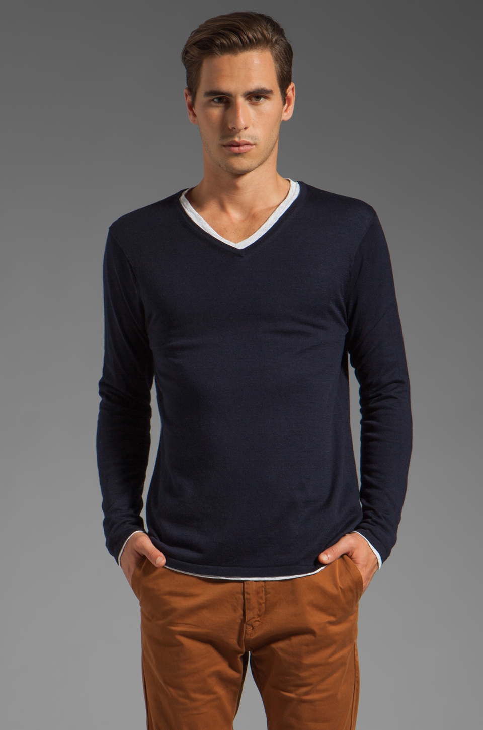 Scotch & Soda 2N1 V Neck Knit Top in Navy