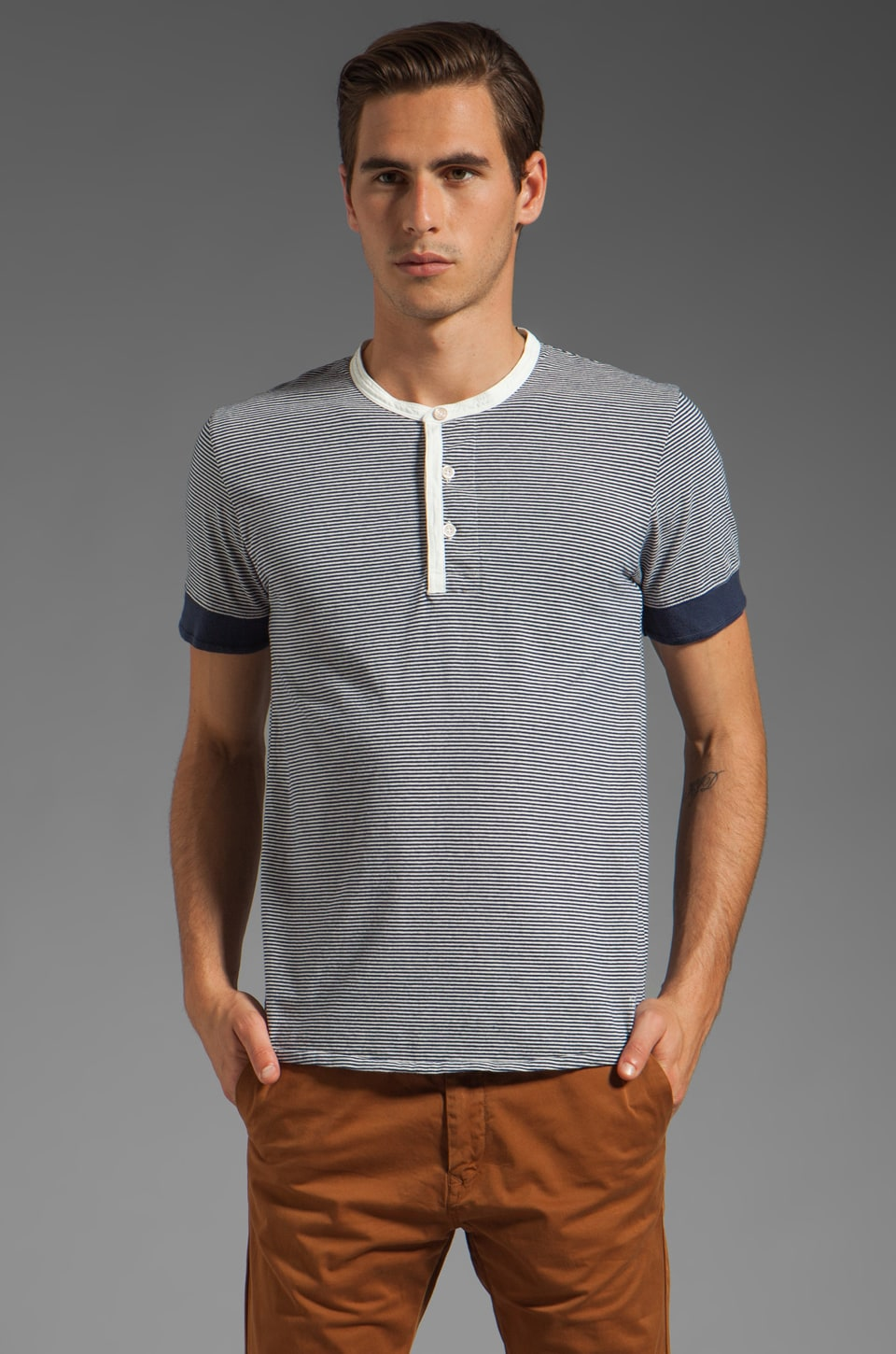 Scotch & Soda Short Sleeve Stripe Henley in Navy
