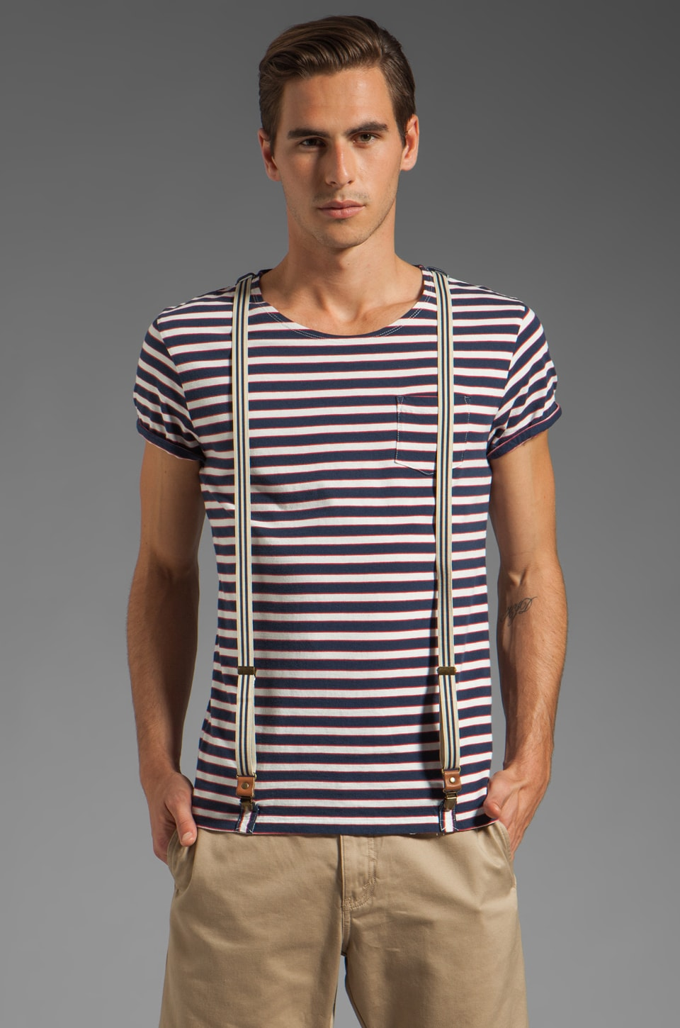 Scotch & Soda Suspender Tee in Navy