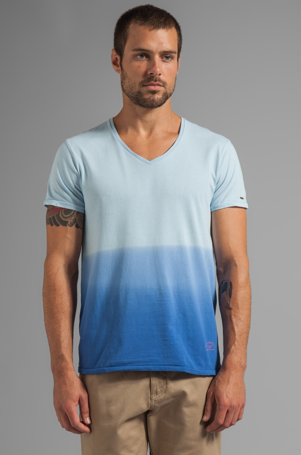 Scotch & Soda Ombre V-Neck Tee in Blue