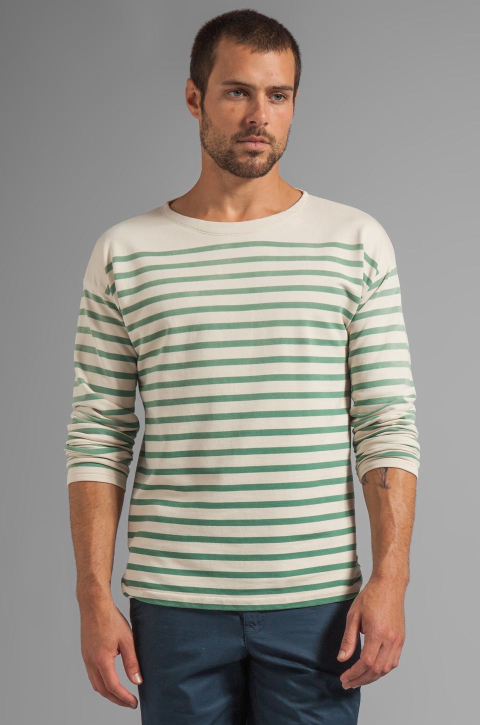 Scotch & Soda Striped L/S Sailor Shirt in Green