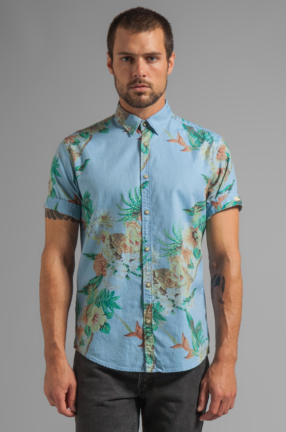 Scotch & Soda S/S Hawaiian Woven Shirt in Blue