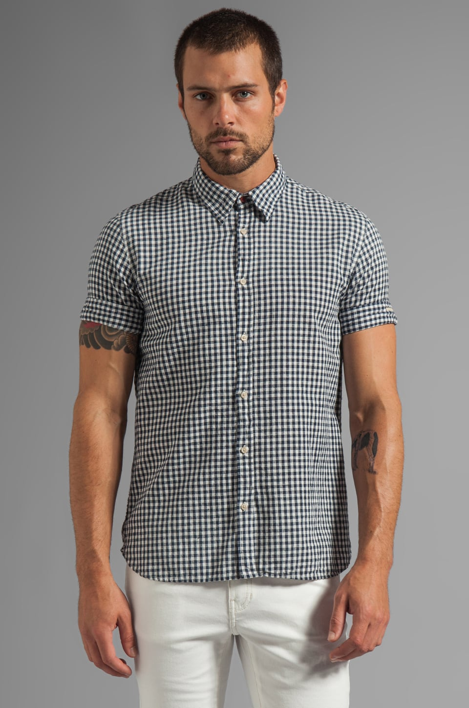 Scotch & Soda S/S Woven Shirt in Navy Check