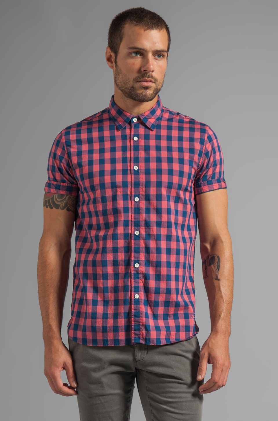 Scotch & Soda S/S Woven Shirt in Blue/Pink