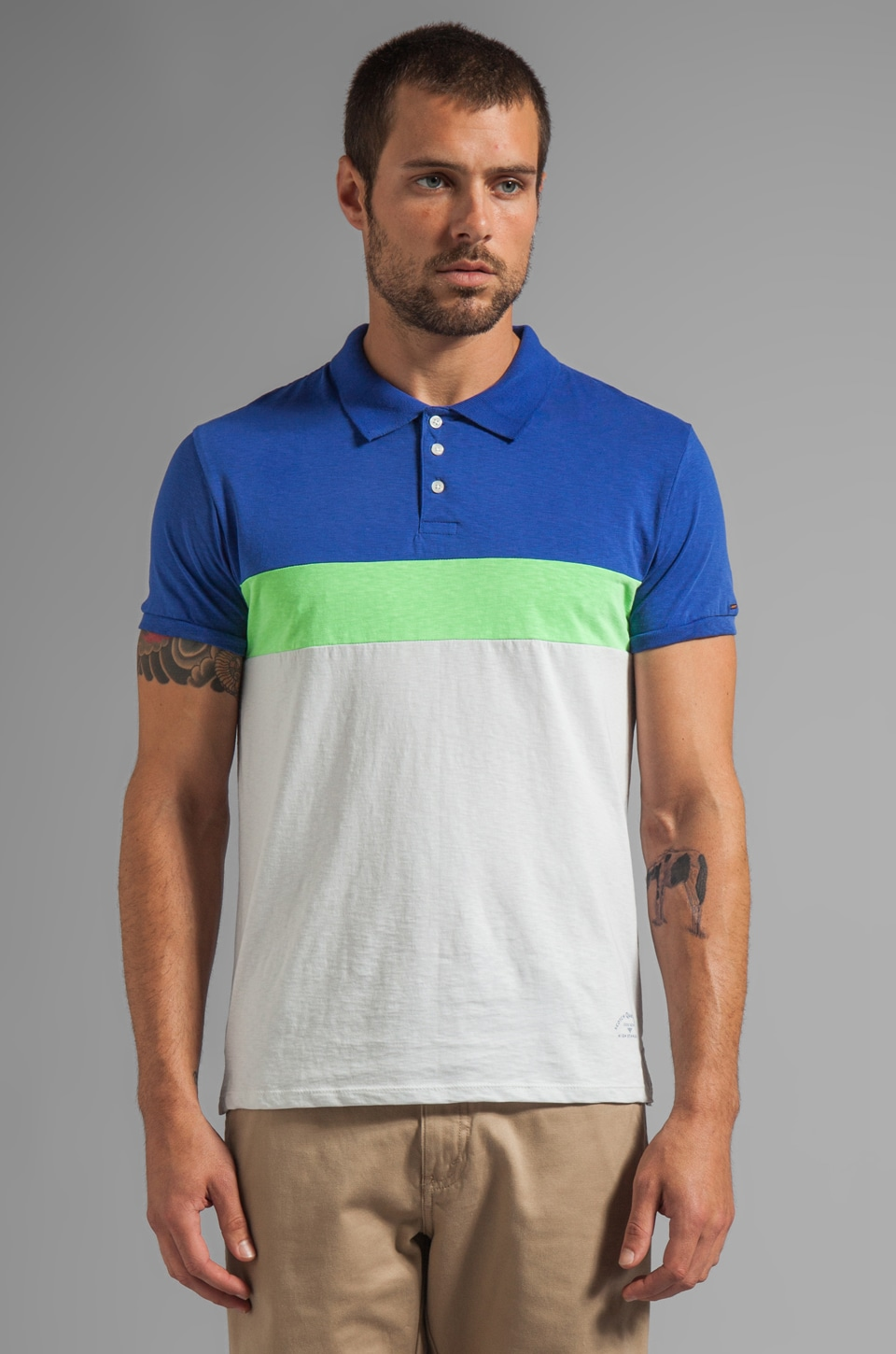 Scotch & Soda Colorblock Jersey Polo in Blue/Green/White