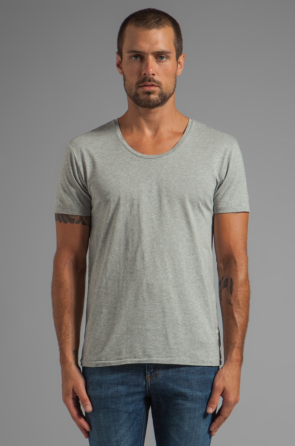 Scotch & Soda Home Alone Crew Tee in Grey