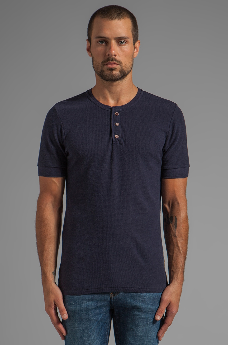 Scotch & Soda Short Sleeve Home Alone Henley in Navy
